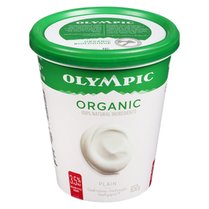 Organic Yogurt, Plain 3.5% (650 g) - OLYMPIC