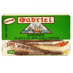 Sardines in Soya Oil with chili pepper 120 gr - Gabriel