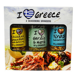 Greek Mini Collection Set 3 Pack with Grinder Spices (Yiros Seasoning, Garlic and Herb, Chicken Souvlaki Seasoning) - CAPE
