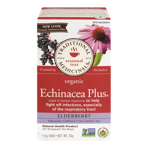 Organic Echinacea Plus Elderberry Herbal Tea (20 ea) - TRADITIONAL MEDICINALS