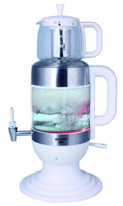 2.5 Liters Glass Samovar, Tea Maker, with Boil-Dry Protection (White) - GOLDA INC.
