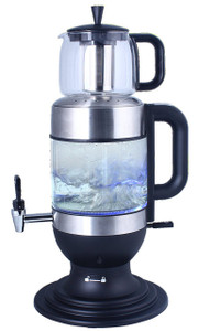2.5 Liters Glass Samovar, Tea Maker, with Boil-Dry Protection (Black) - GOLDA INC.