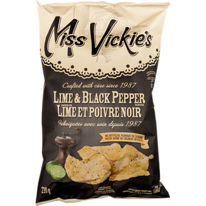 Kettle Cooked Chips, Lime & Black Pepper (220 g) - MISS VICKIE'S