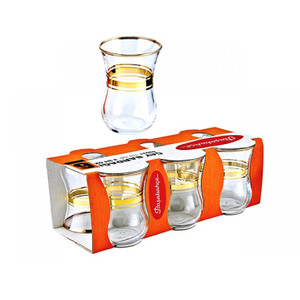 Tea Glasses Gold Trim Design (6 Pc) - Pasabahce