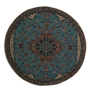 "Termeh Round Tablecloth Fahimeh Turquoise (Dia 37.5"")"