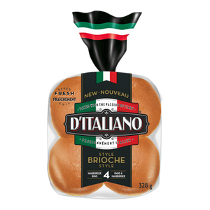 Brioche Hamburger Buns, 4 Pack (328 g) - d'Italiano