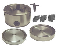 Standard Hub-less 3-jaw Chuck Set for mounting hub-less drums and rotors on a Brake Lathe. SKU: 3JCS.