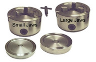 Standard double 3-jaw Chuck set for most brake lathes. Includes Chuck with small jaws, Chuck with large jaws, 2 backing Plates, and T-wrench. 3JDCS.