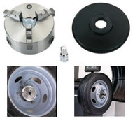 Montage of Quick-Chuck Truck Wheel Balancer Adapter Set. Chuck, Pressure Plate, and wrench adapter. Also shown installed on a wheel and on a wheel balancer.