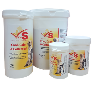 DrS Cool, Calm & Collected dog or cat calmer uses chelated calcium to improve brain and nerve function.