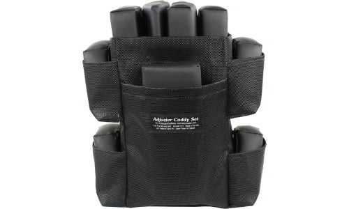 The Adjuster Caddy Set includes 2 Large Wedges, 2 Rectangular Adjusters, 1 Small Wedge, 4 Extenders, and the Adjuster Caddy Bag.