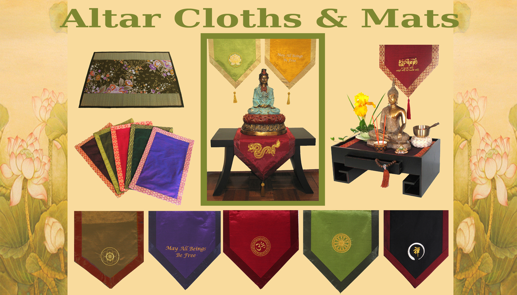 Meditation supply altar cloths and mats boon decor for Altar wall decoration