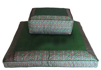 Meditation Cushion Set - Tibetan Rectangular Zafu & Zabuton - Green Ikat Print