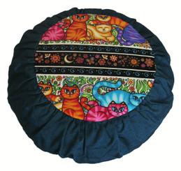 "Zafu Meditation Cushion Pillow For Children - Cotton Prints: Limit Edition ""Celestial Cats"""