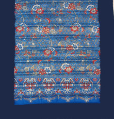 Meditation Roll Up Floor Mat w/Carry Handle - Quilted Cotton Print - Blue