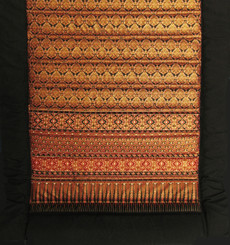 Meditation Roll Up Meditation Floor Mat w/Carry Handle - Quilted Cotton Print - Red/Gold/Black