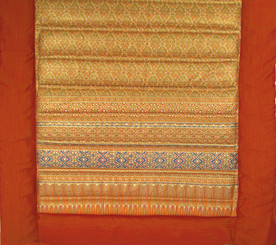 Meditation Roll Up Floor Mat w/Carry Handle - Quilted Cotton Print - Saffron