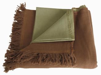 Meditation Shawl - Hand-Loomed - 100% Organic Cotton - Sage/Coco