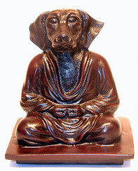 Meditating Dog Figurine - Mahogany Color Resin 6""