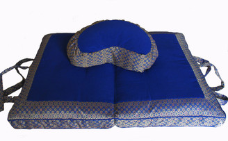 Meditation Cushion Set - Crescent Zafu & Folding Zabuton - Jewel Brocade - Royal Blue