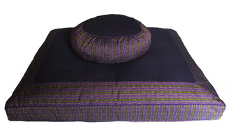 Meditation Cushion Set - Zafu & Zabuton -  Global Weave - Lime/Purple