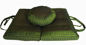 Meditation Cushion Set - Zafu & Folding Zabuton - Global Weave - Olive Green