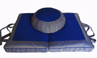 Meditation Cushion Round Zafu & Folding/Travel Zabuton Set - Brocade - Royal Blue