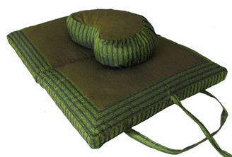 Meditation Cushion Cresctent Zafu & Folding/Travel Zabuton Set - Global Weave - Green
