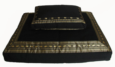 "Meditation Cushion Set w/ Low Rise Seat ""Elephant Brocade"" Black"