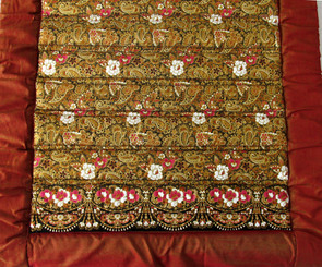 "Yoga Mat - Quilted 100% Polished Cotton ""Indochine"" Fabric: Brown Gold Floral 70""x24"""