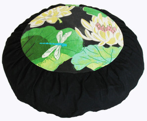 Meditation Cushion Zafu Pillow For Children - Organic Cotton Print - Dragonfly in the Lotus Pond