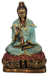 "Quan Yin Seated on Lotus Throne - Goddess of Compassion - Solid Bronze 9.5"" h"