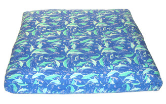 Meditation Floor Cushion for Children - Organic Cotton Print - Dolphins at Play