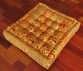 Meditation Floor Pillow - Sitting Cushion - Limited Edition - Butterflies - Golden Brown