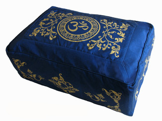 "Meditation Cushion Zafu Buckwheat Kapok Fill ""Om in Lotus"" Blue 8"" h"