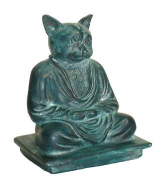 "Meditating Cat Figurine - Patina Resin 6"""