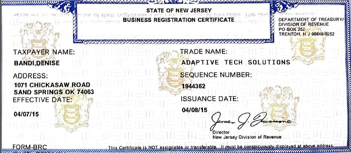 certificate nj business