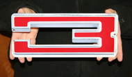 "GM CHEVY RED NUMBER 3 – FLAT STEEL SIGN 12"" X 5"""