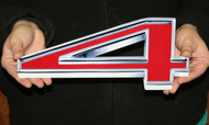 "GM CHEVY RED NUMBER 4 – FLAT STEEL SIGN 12"" X 5"""