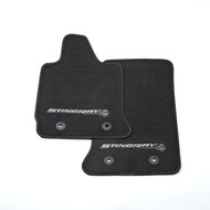 2014+ Corvette Stingray GM OEM Front Floor Mats - Black with Gray Stingray Logo