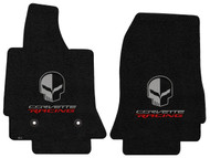 C7 Corvette Floor Mats - Lloyds Mats with Jake Skull Logo and Corvette Racing Script: Ultimat Jet Black