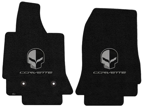 C7 Corvette Floor Mats - Lloyds Mats with Jake Skull Logo and Corvette Script: Ultimat Jet Black