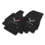 C7 Corvette Stingray Floor Mats - Lloyds Mats with C7 Crossed Flags & Corvette Script : Jet Black