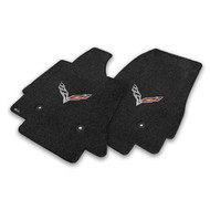 C7 Corvette Stingray Z06 Floor Mats - Lloyds Mats with Crossed Flags: Ultimat - Jet Black