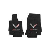 C7 Corvette Z06 w/ Crossed Flags Floor Mats - Lloyds Mats: Ultimat Jet Black