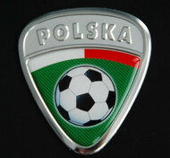 Polska Soccer Badge with Green Background