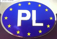 Poland PL Vinyl  Auto Decal with Euro Stars