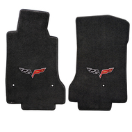 2007-2013 C6 Corvette 2 Piece Floor Mats with Crossed Flags Logo - Lloyds Mats: Ultimat - Black