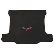 2005-2013 C6 Corvette Coupe Cargo Mat with Crossed Flags Logo - Lloyds Mats: Ultimat - Ebony 600013