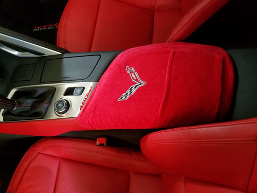 Corvette C7 Console Cover With Crossed Flags Logo Red